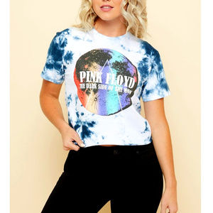 Pink Floyd Logo Tie Dye Skimmer Tee M L NWT